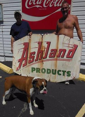 Ashland Product Flying Octane Oil Gas Double Sided Porcelain Metal Sign Kentucky