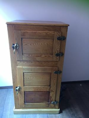 Antique American Oak Wood Ice Refrigerator From The 19th Or Early 20th Century