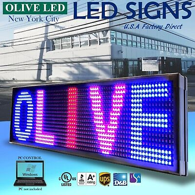 """Olive Led Sign 3color Rbp 22""""x139"""" Pc Programmable Scroll. Message Display Emc"""