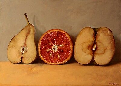 Oil On Canvas Original Signed Painting By Kim Tkatch Pear Orange And Apple