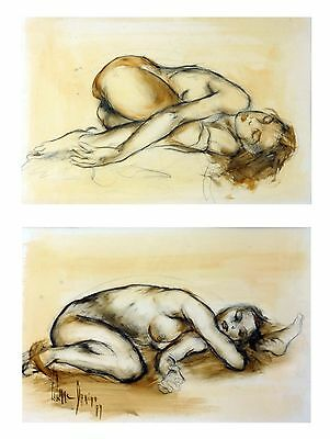 Sketch & Water Color On Paper Painting By Liliane Danino Naked Sleeping Women