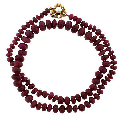 Vintage C.1960 Ruby Graduating Bead Necklace 14k Yellow Gold Pearl Clasp Stamped