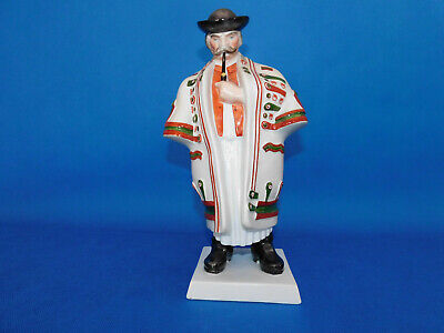 Herend Hungarian Peasant In Folklore Dress With Pipe Figurine Porcelain