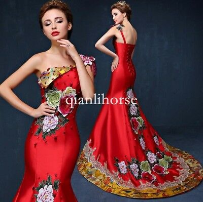 Chinese Womens Wedding Embroidery Evening Party Long Fishtail Dress One Shouder