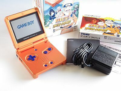 Original Nintendo Gameboy Advance Sp Orange Naruto Limited Console Pack W Title
