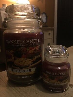 "Yankee Candle ""be Thankful"" 22oz Jar Rare & Vhtf Bonus Small Candle Included!"
