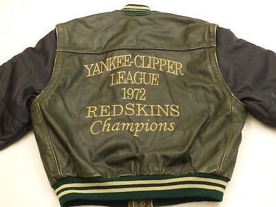 Redskins Vintage Leather Jacket Vest Yankee Clipper League 1972 Green Size: L