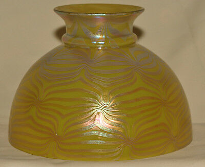 Rare Loetz Gold Decorated Rayo Style Oil Lamp Shade  **look*