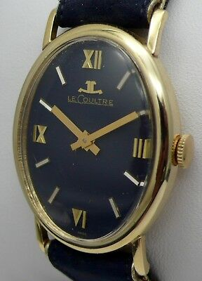 vintage le coultre oval 14k gold midnight blue watch 6038 w/ original blue strap