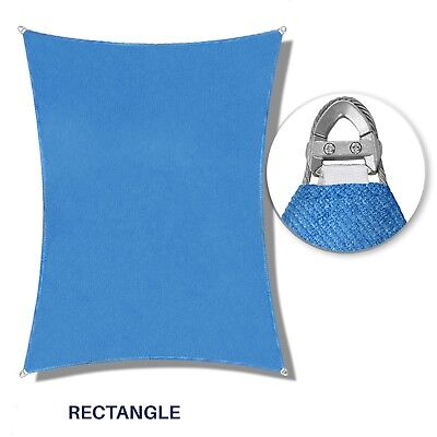 "Blue 32-48ft Heavy Duty Steel Wire Rectangle Sun Shade Sail Patio Pool W/8"" Kit"