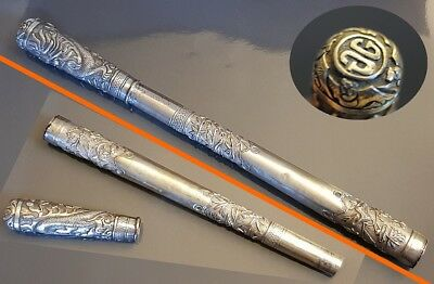 Antique Big Exceptional Repousse Silver Dragon Chinese Walking Stick Handle