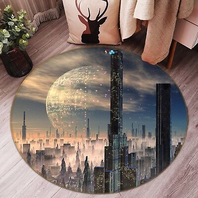 3d Alien World Building 5 Non Slip Rug Mat Room Mat Round Elegant Photo Carpet