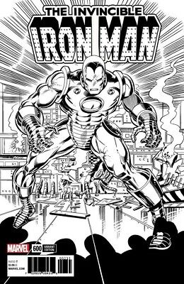 Invincible Iron Man 600 John Romita Jr 1:1000 B&w Sketch Remastered Variant Nm