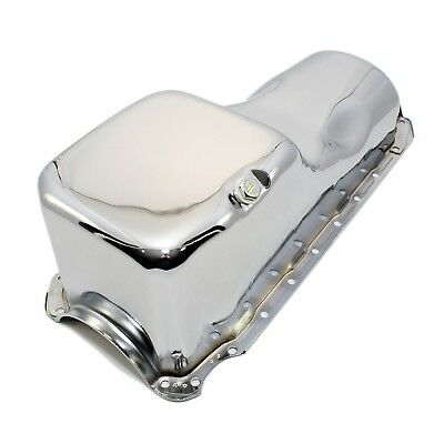 Stock Capacity New Chrome Oil Pan - 65-90 Chevy 396 402 427 454 Big Block Bbc