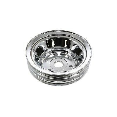 Chrome Steel Crank Pulley Small Block Chevy 3 Groove Long Style New Pump