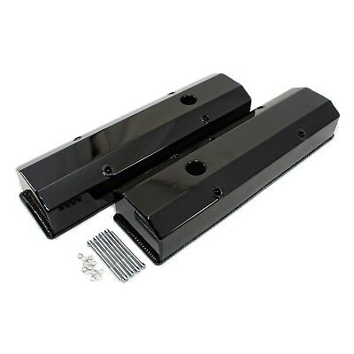 Aluminum Valve Covers Long Bolt Black Powder Coated Sbc 350 Small Block Chevy