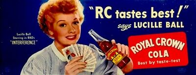 Lucille Ball 1947 Ad Sign Royal Crown Cola Movie Interference Promo Litho Ex Coa