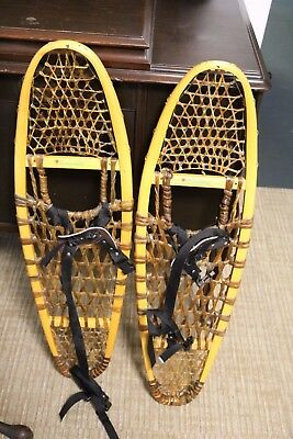 Vintage Sportsman Guide Wood and Rawhide Modified Bearpaw Snowshoes