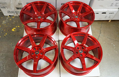 """20"""" Project 6gr7 Brushed Candy Apple Red Wheels Ford Mustang S550 S197"""