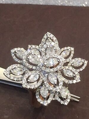2.02 Cts Round Marquise Pear Cut Natural Diamonds Ring In Fine Hallmark 14k Gold
