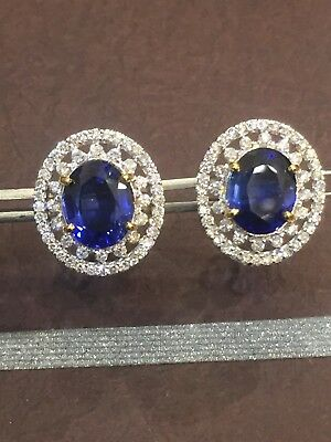 Pave 10.10 Cts Natural Diamonds Sapphire Stud Earrings In Fine Hallmark 14k Gold