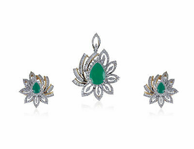 Pave 6.32 Cts Natural Diamonds Emerald Pendant Earrings Set In Hallmark 14k Gold