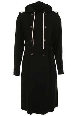 New Rick Owens Trench Coat With Hood Ru18f1981 Wvt Black Authentic Nwt