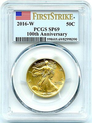 2016-w Gold Walking Liberty Half Dollar, Pcgs Sp-69, First Strike, .9999 Gold!