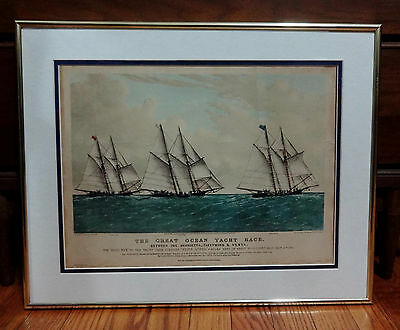 """Antique 1867 Currier & Ives Litho The Great Ocean Yacht Race 20"""" Lithograph Vhtf"""