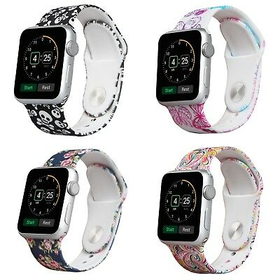 Wholesale Resale Lot Of 38 And 42 Mm Silicone Apple Watch Band Printed Designs