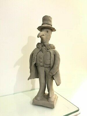 """Artist Sculpture """"crow In Tuxedo"""" Clay No. Edition 2 Caricature Signed 10"""""""