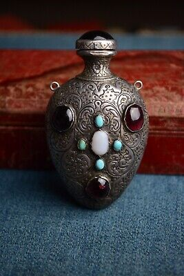 Antique 19th Century Austro Hungarian Silver And Gem Stone Scent Bottle