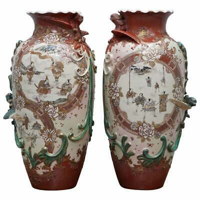 pair of signed large early 19th century chinese vases 41cm tall ornate designs