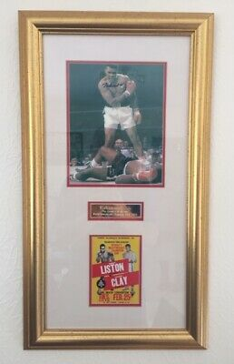 Muhammad Ali Authenticated Signed Framed Photo & Liston Fight Poster Copy