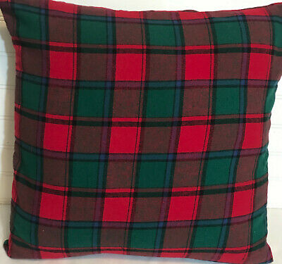 "Red-green Christmas Plaid /16"" X 16"" Or 18""x18""/ Flannel Pillow Cover"