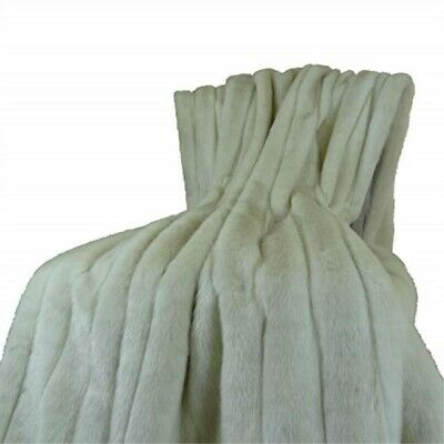 Plutus Brands Fancy Faux Mink Throw Pillow 48 X 60 Ivory/off White