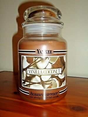 Rare Yankee Candle Vanilla Coconut Black Band Retired 22oz Jar White Label Htf
