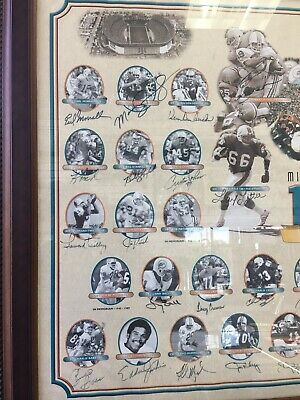 """1972 Miami Dolphins Perfect Season Autographed Jsa Authenticy 27""""x40"""""""