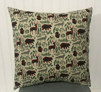 "Woodland Christmas Plaid/16"" X 16""/18""x18""/20"" X 20"" Cotton Pillow Cover/bear/"