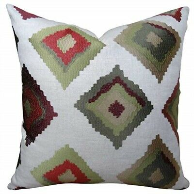 "Plutus Brands Plutus Red Earth Native- Trail Handmade Throw Pillow 24"" X 24"" Wh"