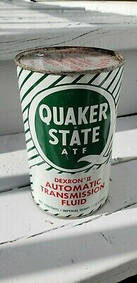 Vintage Advertising Quaker State Automatic Transmission  Motor Oil Can Gas Sign