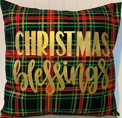 "Christmas Blessings On Black Red Plaid /16"" X 16""/ Cotton Pillow Cover/christmas"