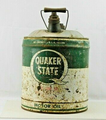 Vintage Quaker State 5 Gallon Oil Can - Wood Handle