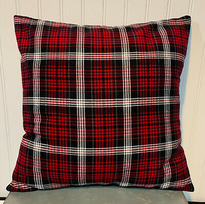 "Red Black White Carter Plaid 16"" X 16"" Or 18""x18""/ Flannel Cover/christmas"