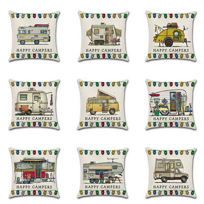 Decor Ornate Happy Campers Sofa Waist Throw Cushion Cover Pillow Case 45*45cm