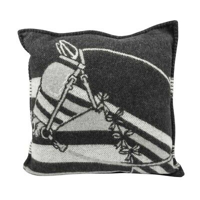 Hermes Limited Edition Pillow Couvertures Ecru And Gris Fonce Throw Cushion New