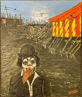 Painting Oil On Canvas Jean Stone Lagrue - Bruce Davidson Dwarf Of Circus