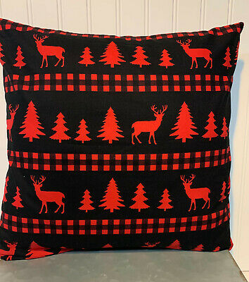 "Deer Red Black Buffalo Plaid 16"" X 16"" Or 18""x18""/ Cotton Cover/christmas"