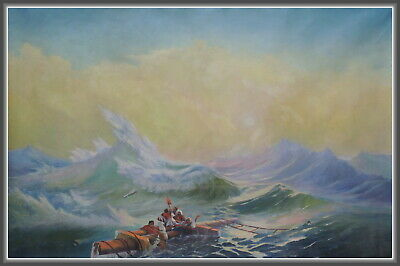The Ninth Wave/big Old Oil Hand Painting Canvas Soviet Russian Realism Seascape