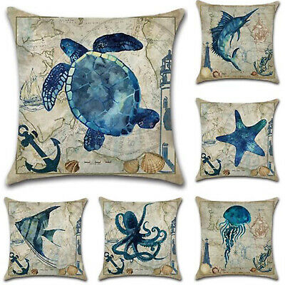 "18"" Home Decor Cotton Linen Pillow Case Sofa Waist Throw Cushion Cover Sea Life"